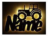Schlummerlicht24 3d Led e Möbel Deko Licht Trekker Traktor-Lampe mit Name-n für Männer Mann Kind-er Junge-n Jungs ab 0 1 2 3 4 5 6 7 8 9 Monate Jahre Jähriges Kinderzimmer