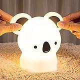 LED Nachtlicht Baby,Kawaii Koalas Nachtlicht Kinder,Stilllicht Babyzimmer Tiere Deko, nachttischlampe,Dimmbar Touch USB Silikon Kinderlampe, Warme Cute Bed Schlaflicht als Einschlafhilfe Geschenk