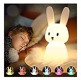 SOLIDEE Bunny Nachtlicht Baby mit 7 Lichtwechsel & Tap Control & USB-Aufladung(1200mAh) & Timing Funktion Nachttischlampe Kinderzimmer Deko Geschenke Spielzeug Schlaflichter Silikon Nachtlicht Kinder