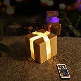 ZMH LED Nachtlicht Nachttischlampe Holz Touch Dimmbar mit Fernbedienung farbwechsel 13 RGB 3W Nachtlampe Kinder Stimmungslicht Tischleuchte Nachtischleuchte