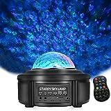 WOWDSGN LED Sternenhimmel Projektor Lampe Kinder Nachtlicht 360° Rotierend Ozeanwellen Stimmungslicht mit Polarlicht Bluetooth Lautsprecher mit Fernbedienung Ideal für Schlafzimmer Party etc.