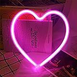 LED Herz Neonlicht - Protecu USB batteriebetrieb Nachtlicht für Wanddekoration Kunstdekoration | Neon Herz Deko Lichter Dekoration für Kinder Weihnachten Partys Schlafzimmer (Herz,Rosa)