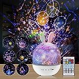 Sternenhimmel Projektor Nachtlichter, Rotierendes Led Sterne Lampe und Spieluhr für Kinder und Erwachsene, Fernbedienung Projektorlampe mit 6 Filmen und 1 Lanyard für Valentinstag Festival Geschenk
